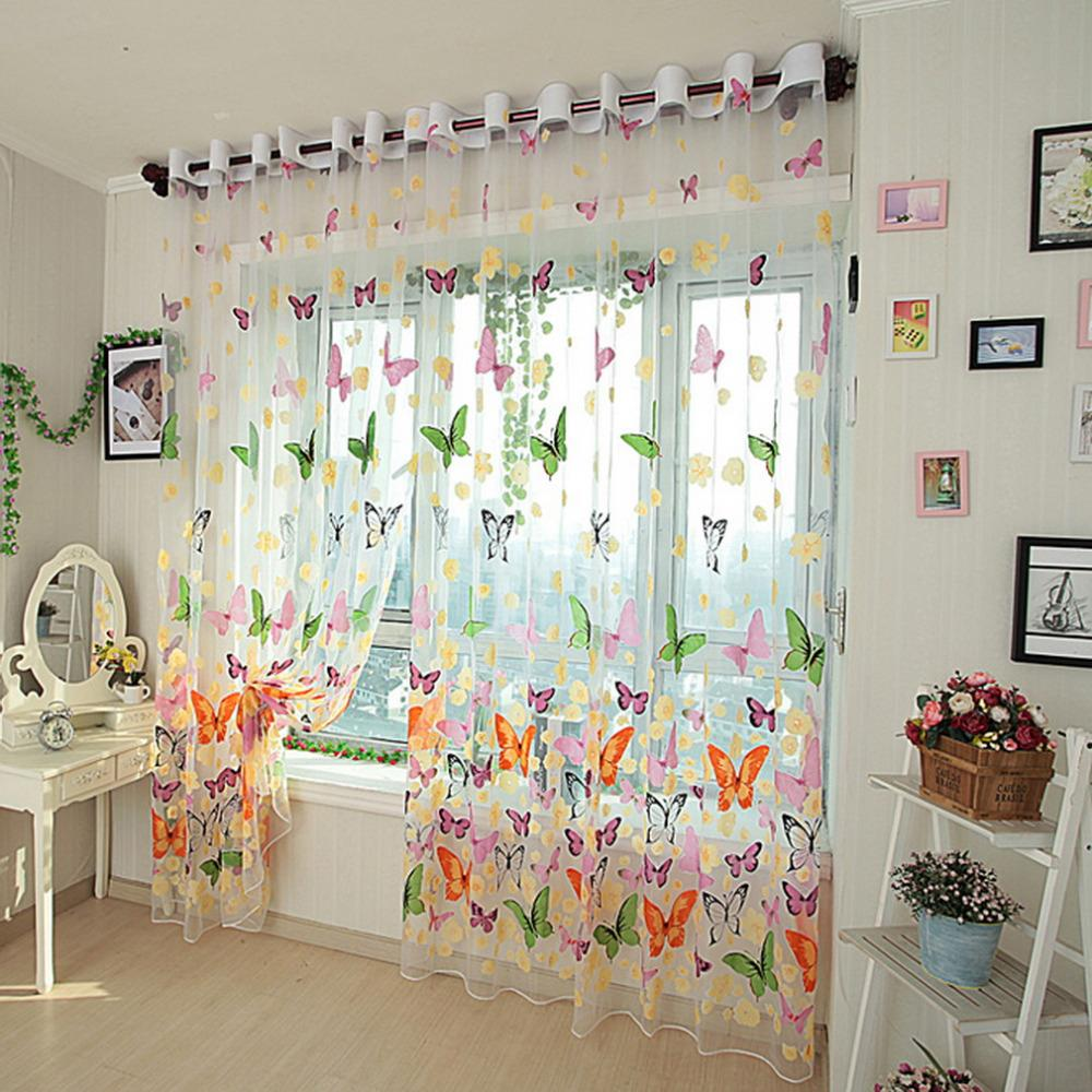 100*200cm Pretty Butterfly Yarn Print Sheer Window Door Panel Sheer Curtains Room Divider Tulle Scarf Balcony Screens