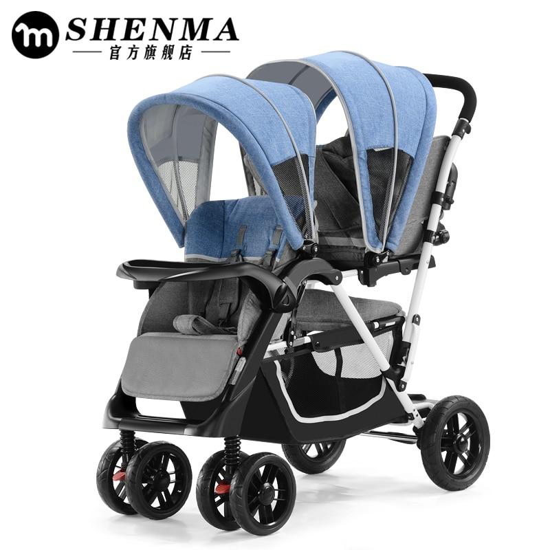 2018 babyfond Jumeaux poussettes peut s'asseoir haute paysage parapluie pliant à quatre roues poussette double Haute qualité chariot