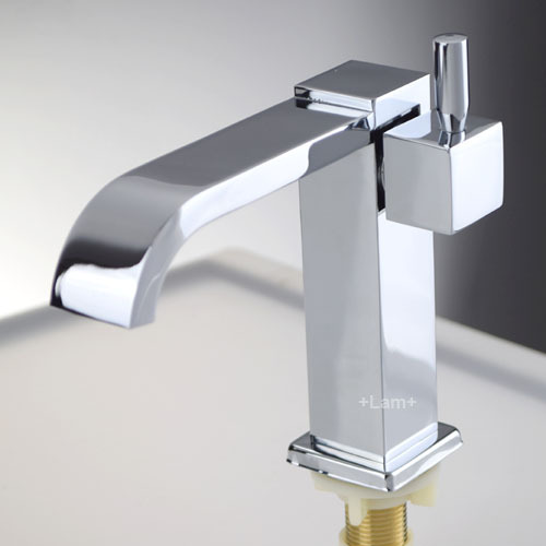 Brass Chrome Bathroom Basin Faucet Cold Water Only Single Handle ...