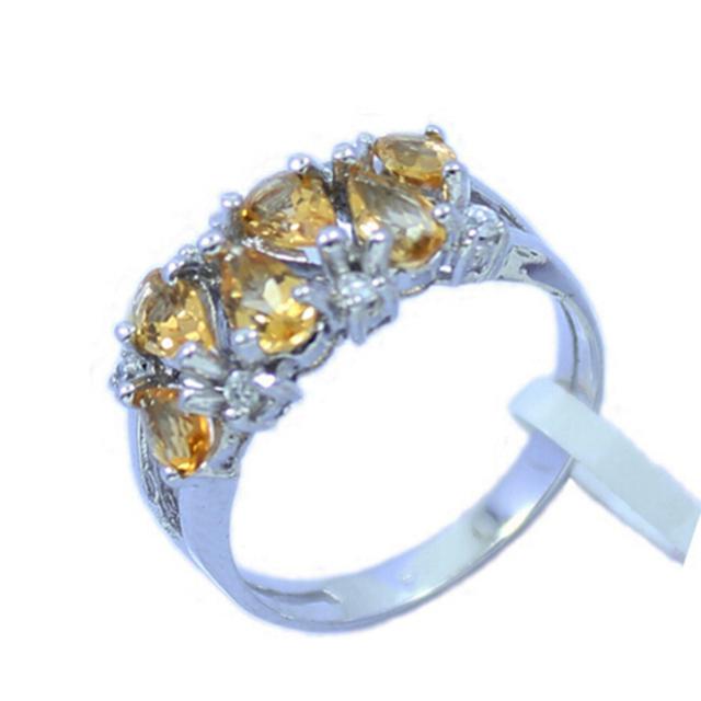 Clásico 925 de plata natural anillo citrino natural citrino piedras preciosas pure 925 soild anillo citrino de plata esterlina para la mujer