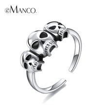 e-Manco Skull 925 Sterling Silver Rings Wholesale Cool Party Punk Skeleton Rings Cuff New Arrival Best Gift(China)