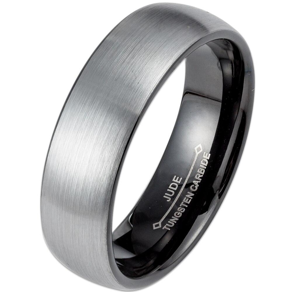Männer Frauen 6 MM 8 MM Schwarz Hartmetall-ring Gebürstet Gewölbtem Hochzeit Engagement Jahrestag Cocktail Graduation Vater Mann