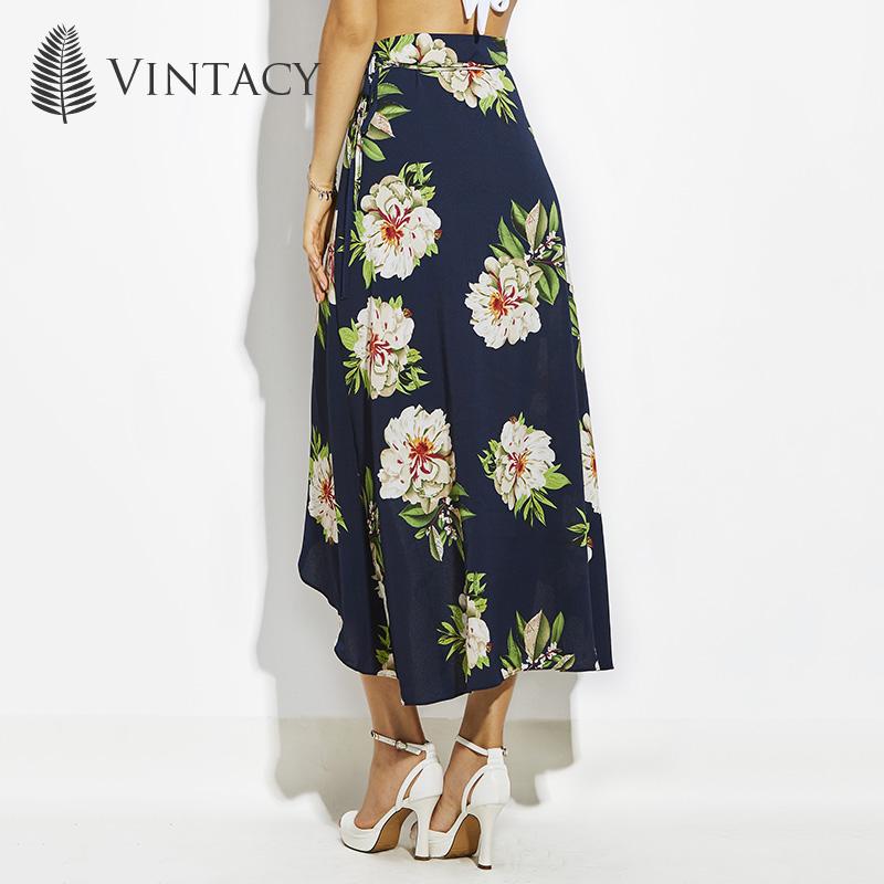 2c208cf59c09 Vintacy Floral Print Skirts Women Dark Blue Asymmetrical Split Open Sexy  Midi Skirt Beach Holiday Casual Summer Chiffon Skirts. 6 7 8