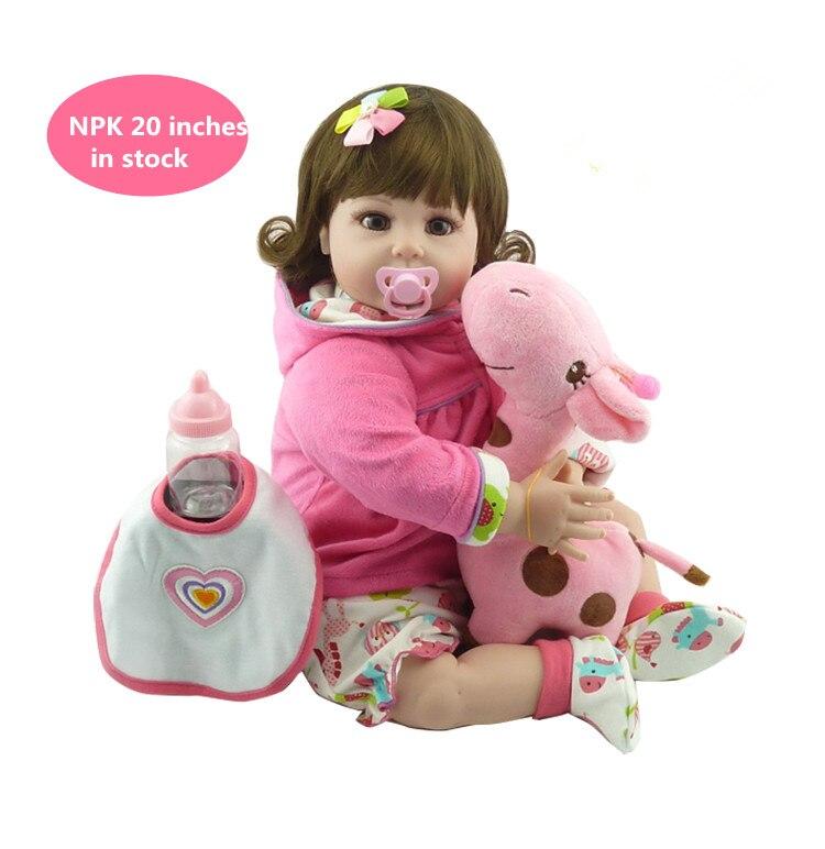 NPKCOLLECTION frete grátis vinil silicone renascer baby doll com peruca de cabelo macio real toque presente para seus filhos no dia Do Aniversário