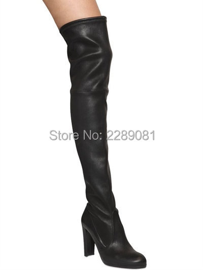 Thigh High Black Leather Boots Promotion-Shop for Promotional ...