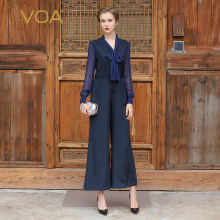 VOA Women Sexy Silk Jumpsuits Spring Summer Plus Size V Neck Elegant Pants Navy Blue Office Ladies Wide Leg Jumpsuits K5995