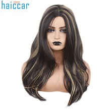 HOT SALE Black Fashion wig Mix Colors Cosplay Synthetic Long Straight Hair Wig Costume Wigs For Party Hair AccessoriesDec5(China)