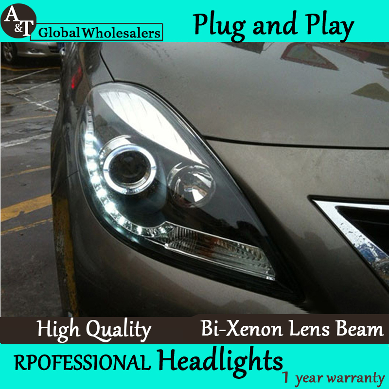 Car Styling for Nissan Sunny LED Headlight 2013 Sunny Headlights DRL Lens Double Beam H7 HID Xenon bi xenon lens hireno headlamp for 2013 2015 nissan tiida headlight assembly led drl angel lens double beam hid xenon 2pcs