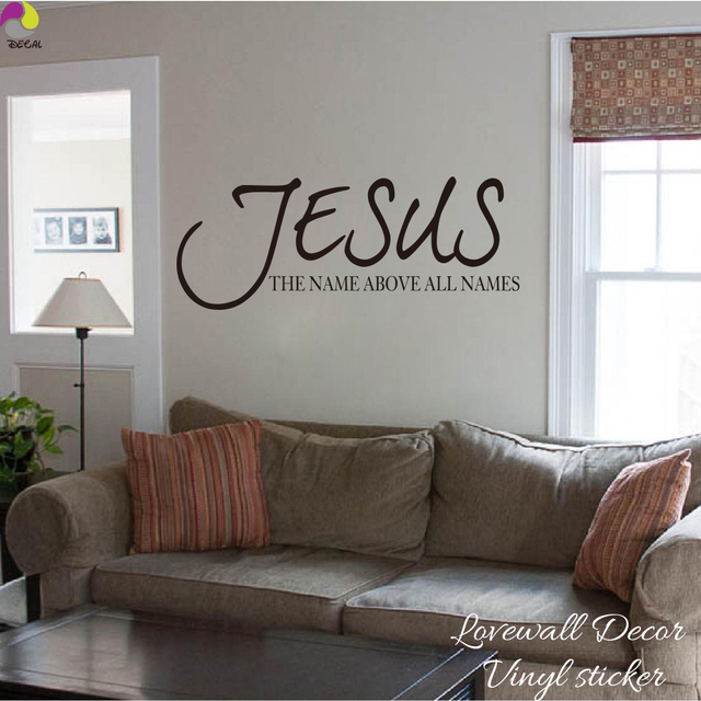 wall stickers living room yellow and turquoise jesus name above all names saying sticker bedroom bible verse quote decal vinyl home decor art mural