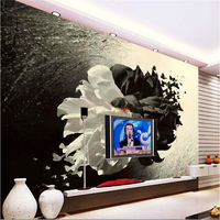 Beibehang Customize Any Size Mural Wallpaper 3D Black And White Minimalistic Flowers Butterfly Background Wall Wallpaper