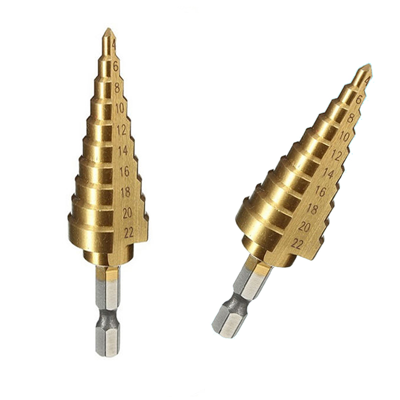 1pc HSS Titanium Coated Step Cone Drill Bit High Speed Steel Hex Step Drill Bits Hole Cutter Power Tools 4-22mm 13pcs lot 1 5 6 5mm hss high speed steel titanium coated drill bit set 1 4 hex shank power tools