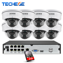 Techege 8CH 1080P POE NVR Video Surveillance Camera System 2MP HD Network IP Camera Weatherproof Vandalproof CCTV NVR System