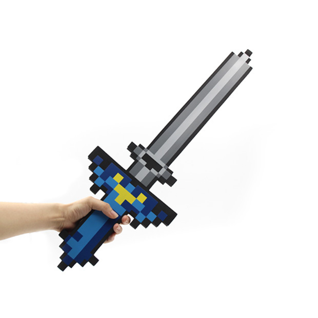 New Arrival Minecraft Sword Toys New Minecraft Blue Sword Pickax Foam Action Figures Toys Kids Toys Birthday Gifts lps pet shop toys rare black little cat blue eyes animal models patrulla canina action figures kids toys gift cat free shipping