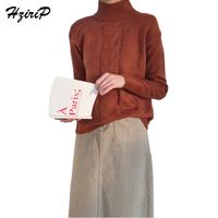 HziriP Female Half High Collar Twist Sweater Winter Warm Loose Jersey Mujer Thickened Knitted Pullover Shirt