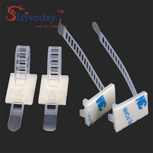 50pcs/bag CL-3 Adjustable Cable clamps wire cable Tie Mounts Environmental protection Screw holes Adhesive Beamline Ties