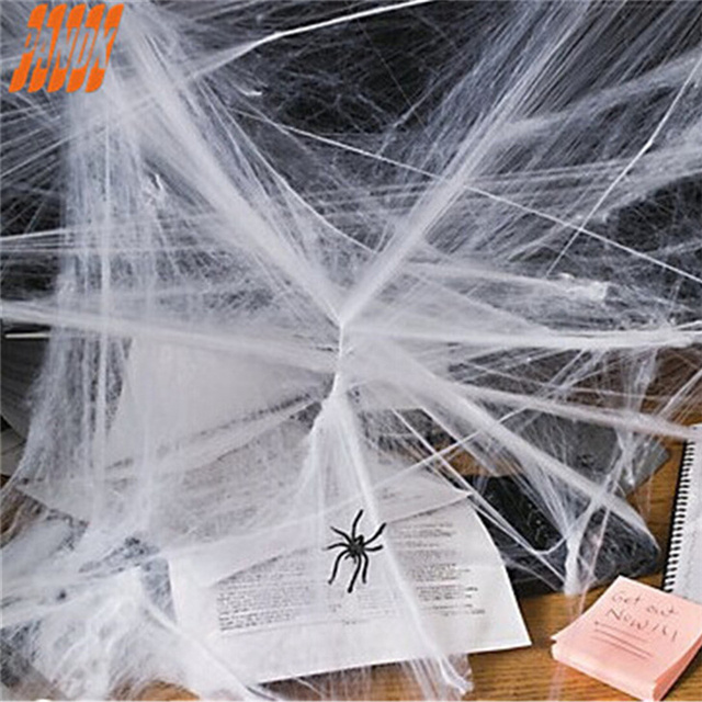 white stretchy spider web halloween decoration diy cobweb scary party scene props supplies for bar haunted