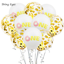 Shiny Eyes 10pcs 1st Happy Birthday Donut Balloons Boy Girl One Year Oh Baby Party Decorations Shower