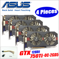 Asus GTX 750TI OC 2GD5 4pieces power cable GTX750TI GTX 750TI 2G DDR5 128Bit PC Desktop Graphics video Cards GTX 750 ti DHL free