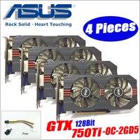 Asus GTX 750TI OC 2GD5 4 шт кабель питания GTX750TI GTX 750TI 2 г DDR5 128Bit настольных ПК Графика видео карты GTX 750 ti DHL Бесплатная