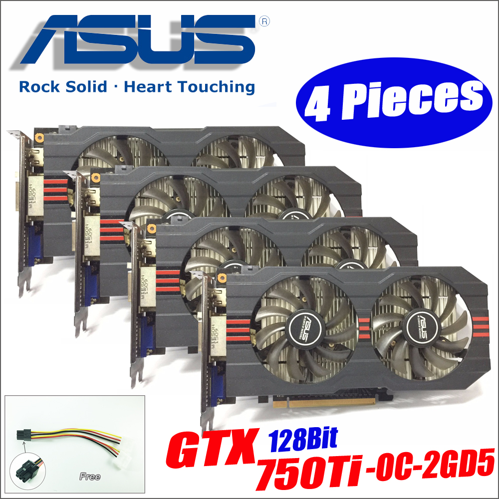 Asus GTX-750TI-OC-2GD5 4pieces power cable GTX750TI GTX 750TI 2G DDR5 128Bit PC Desktop Graphics video Cards GTX 750 ti DHL free
