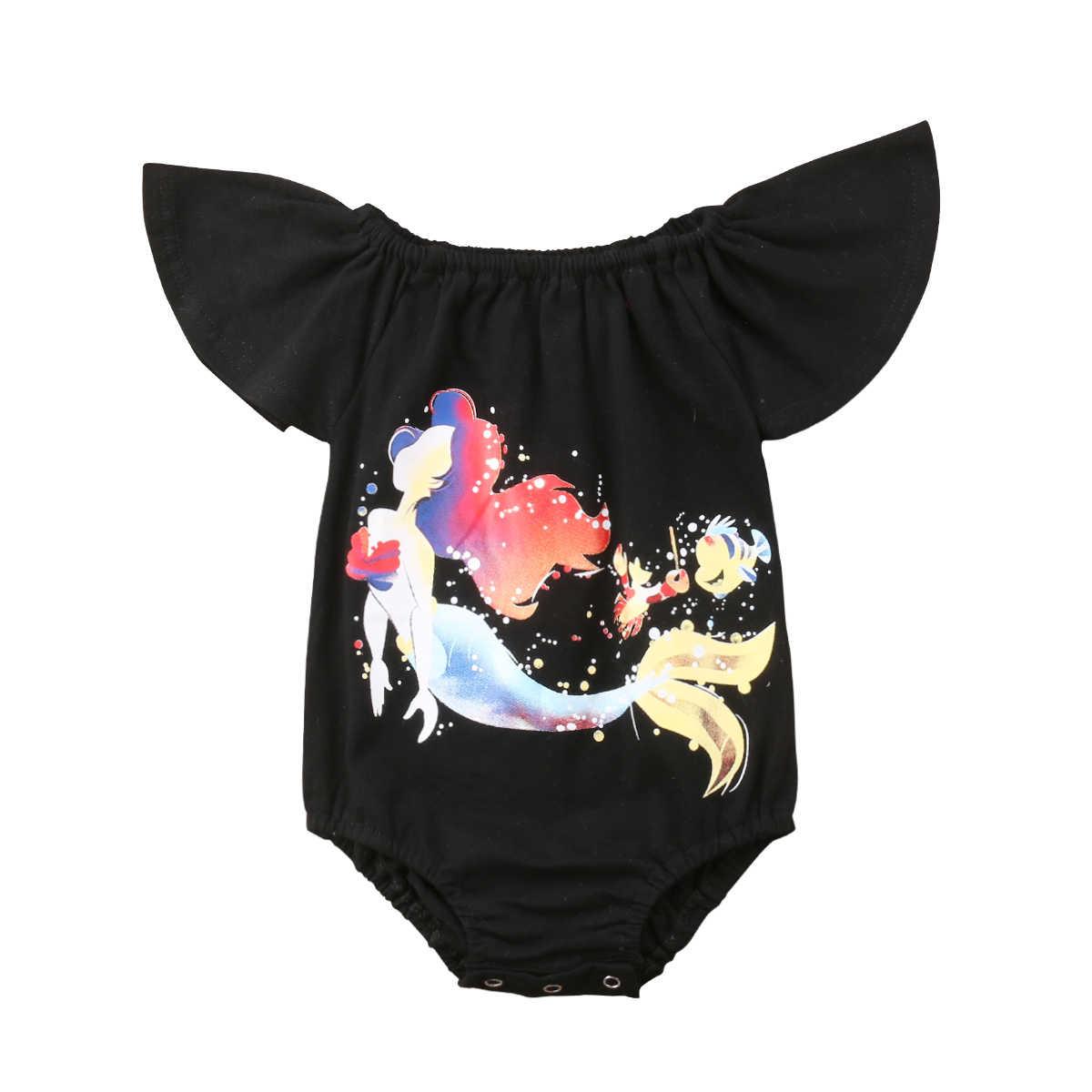 Новая тенденция черный с принтом для маленьких девочек с рукавами-крылышками комбинезон женский пляжный костюм наряды летние особенности прекрасный дикий CH