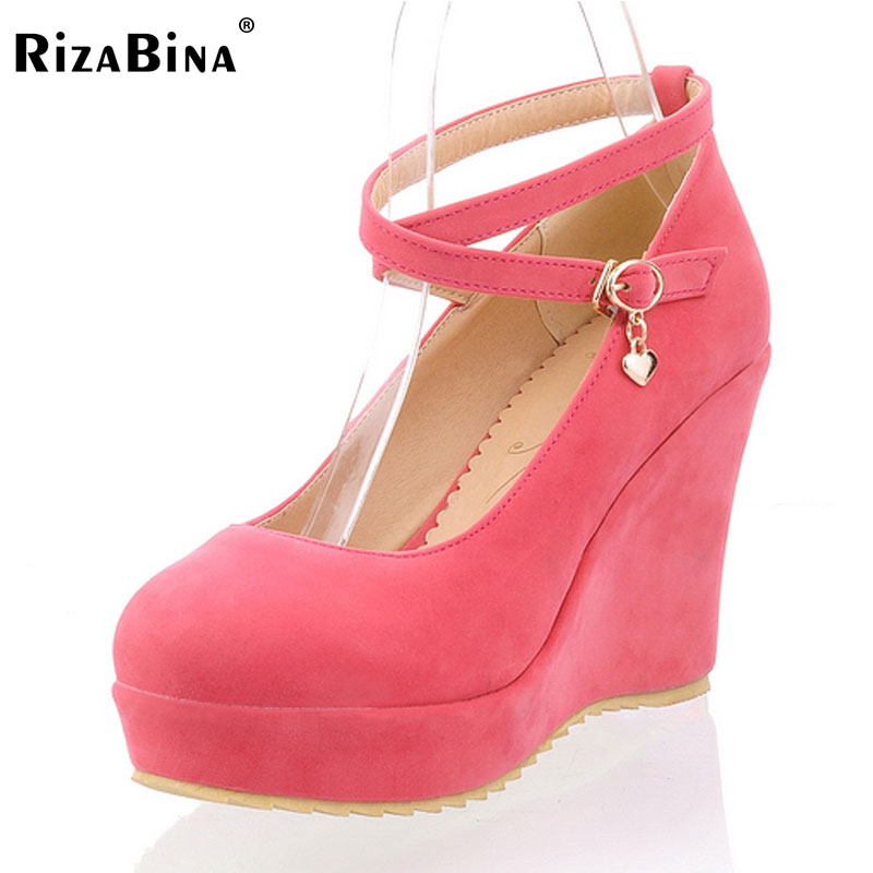 RizaBina  free shipping high heel wedge shoes platform women sexy footwear fashion pumps P12654 EUR size 34-39 free shipping candy color women garden shoes breathable women beach shoes hsa21