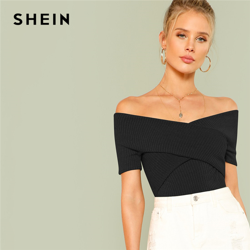 378a040a76 SHEIN Highstreet Black Wrap Design Bardot Ribbed Off the Shoulder Pullovers  Top 2018 Autumn Casual Women Modern Lady Tshirt Top-in T-Shirts from  Women's ...