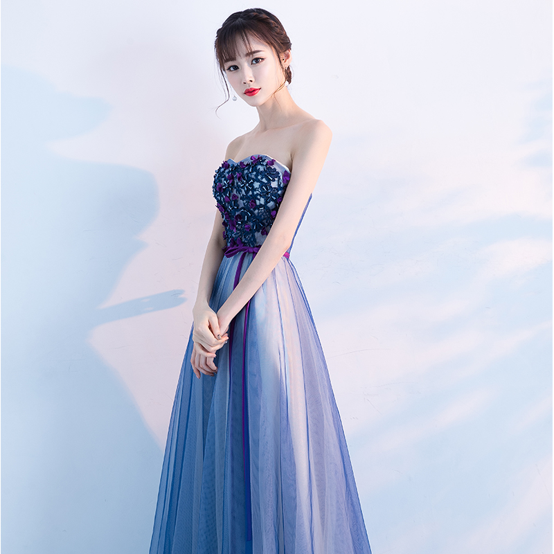 2017 New Arrival Dark Blue Strapless Flowers Evening Dress Robe De ... 2d23d176382f