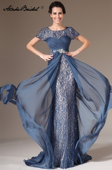 192c6aef1d5 Вечернее женское платье элегантный короткий рукав Русалка блесток шифон мать  невесты платье vestido novia