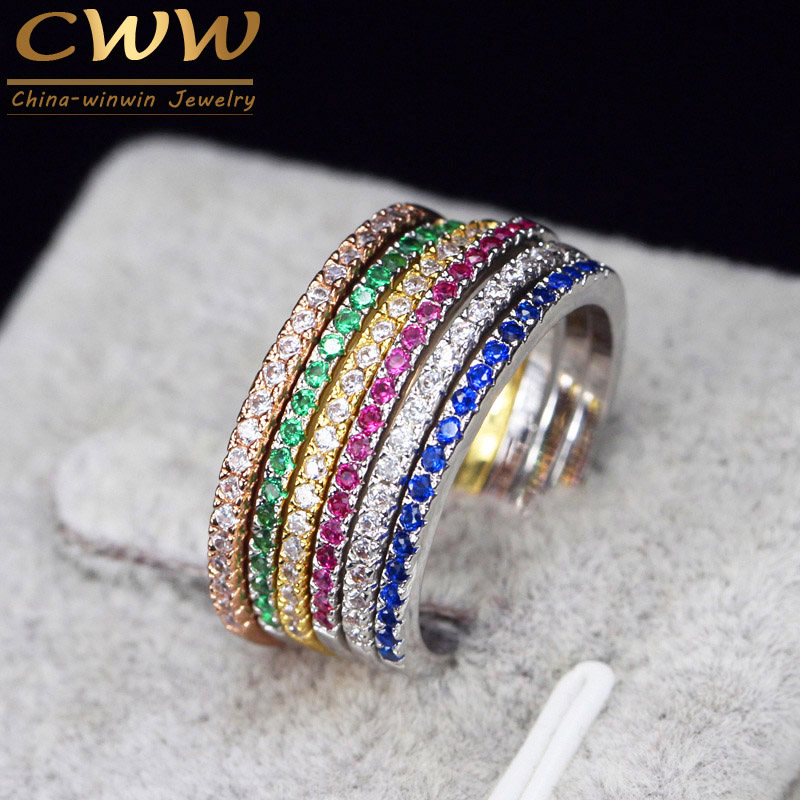CWWZircons Brand Fashion 3 pcs Engegament Wedding Ring Set Mixed Color Round Red Green Blue Cubic Zirconia Rings For Women R016