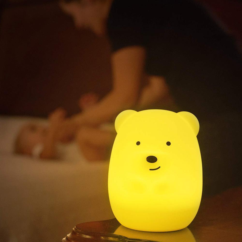Bear Owl Shape LED Nursery Night Light Kids Baby Silicone Pat Color Change Lamp