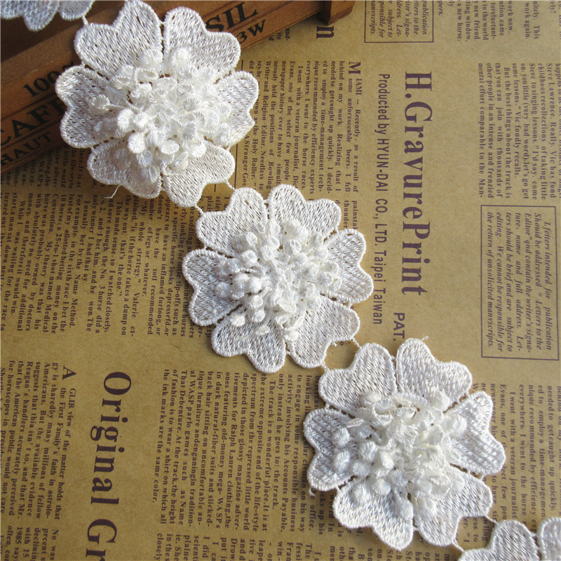 1 yd Embroidered Lace Trim Flower Net Ribbon Venise Handicrafts Clothes Hot Sale