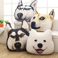 Shippig libre 1 unids 35 * 35 cm nueva 3D cabeza de perro oficina sofá cojín almohada husky Akita Si amoyed perro doge almohada de dibujos animados
