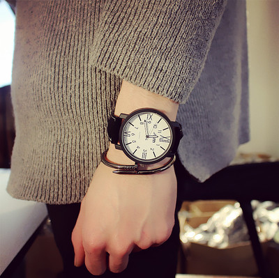 00Han edition student creative the wind belt couple table blue thin mushroom personality female fashion watches men's watch qiu dong season with plush slippers female students in the summer of 2017 the new han edition joker fashion wears outside a word