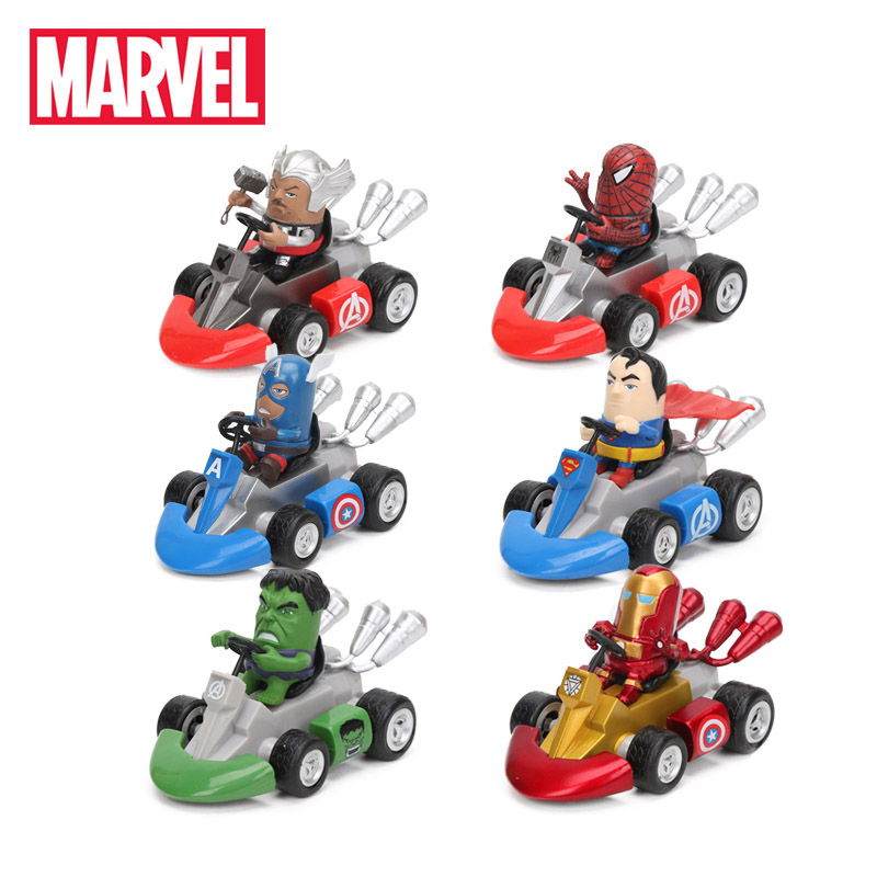 Marvel-Toys Figures Kart Spiderman Batman Superheroes-Doll Hulk Thor Captain 11cm Pull
