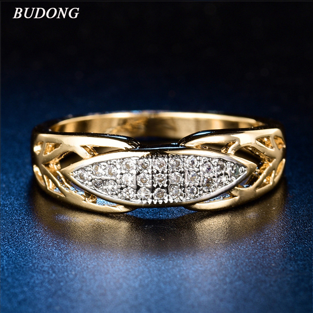 BUDONG Authentic Luxury Wedding Rings For Women Gold color Jewelry