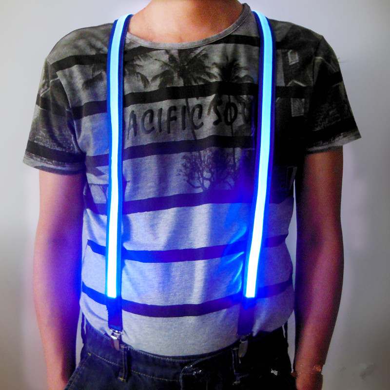 New Printed LED Suspenders Men Three Clips-on Braces Vintage Mens Suspender For Trousers Husband Male Suspensorio For Skirt