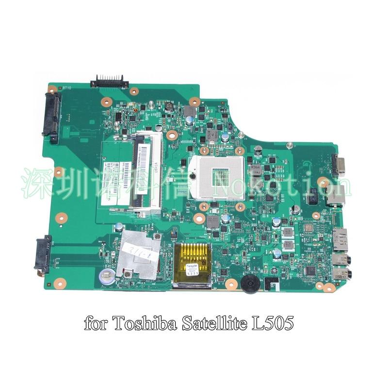 NOKOTION SPS V000185560 For toshiba satellite L505 Laptop motherboard HM55 DDR3 6050A2284301-MB-A02 nokotion a000075380 laptop motherboard for toshiba satellite l655 l650 31bl6mb0000 da0bl6mb6g1 intel hm55 ddr3