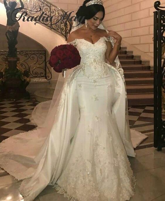 2019 Arabic Ivory Satin Mermaid Dubai Wedding Dress Detachable Train Off Shoulder Lace Appliques Plus Size