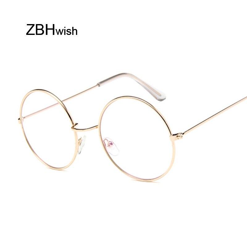 Mode ronde Vintage lunettes cadre femmes Lunette en métal cadre clair lentille lunettes optique Transparent lunettes femme miroir plaine