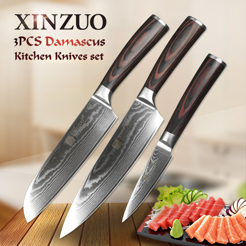 XINZUO 3 pcs kitchen knives sets 67 layers Damascus stainless steel 8''chef 5''utility knife 7'' santoku knife Pakka wood handle