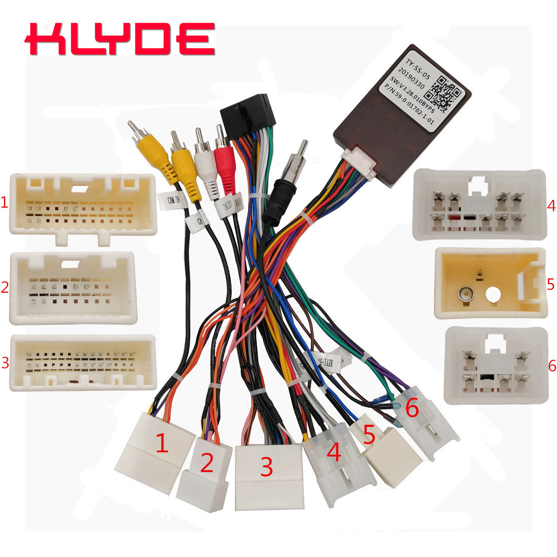 KLYDE Car Stereo Radio Wire Power Harness Adapter With Canbus Decoder For Toyota Series Prius Camry Car JBL And Original Camera