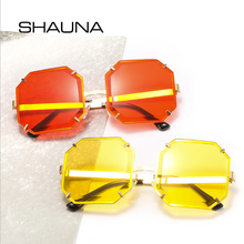 SHAUNA Oversized Rimless Sunglasses Women Square Brand Desig