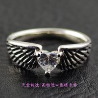925 sterling silver white Zircon ring Angel Wings imported