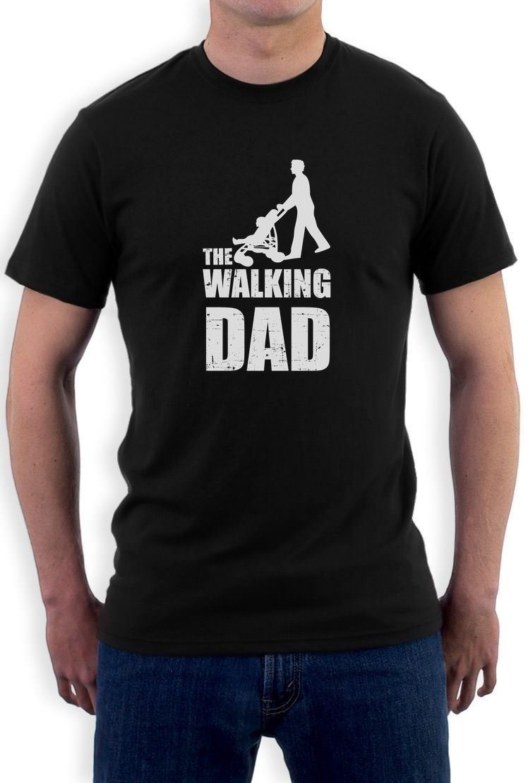 Fathers Day Gift - The Walking Dad T-Shirt Cool Funny Dads Fathers Top Black XL Mans Unique Cotton Short Sleeves O-Neck T Shirt