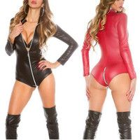 Hot Porn Cosplay Sex Underwear Sexy PU Leather Latex Baby Dolls Erotic Lingerie Sexy Pole Dance Club Costumes Zipper Mini Dress