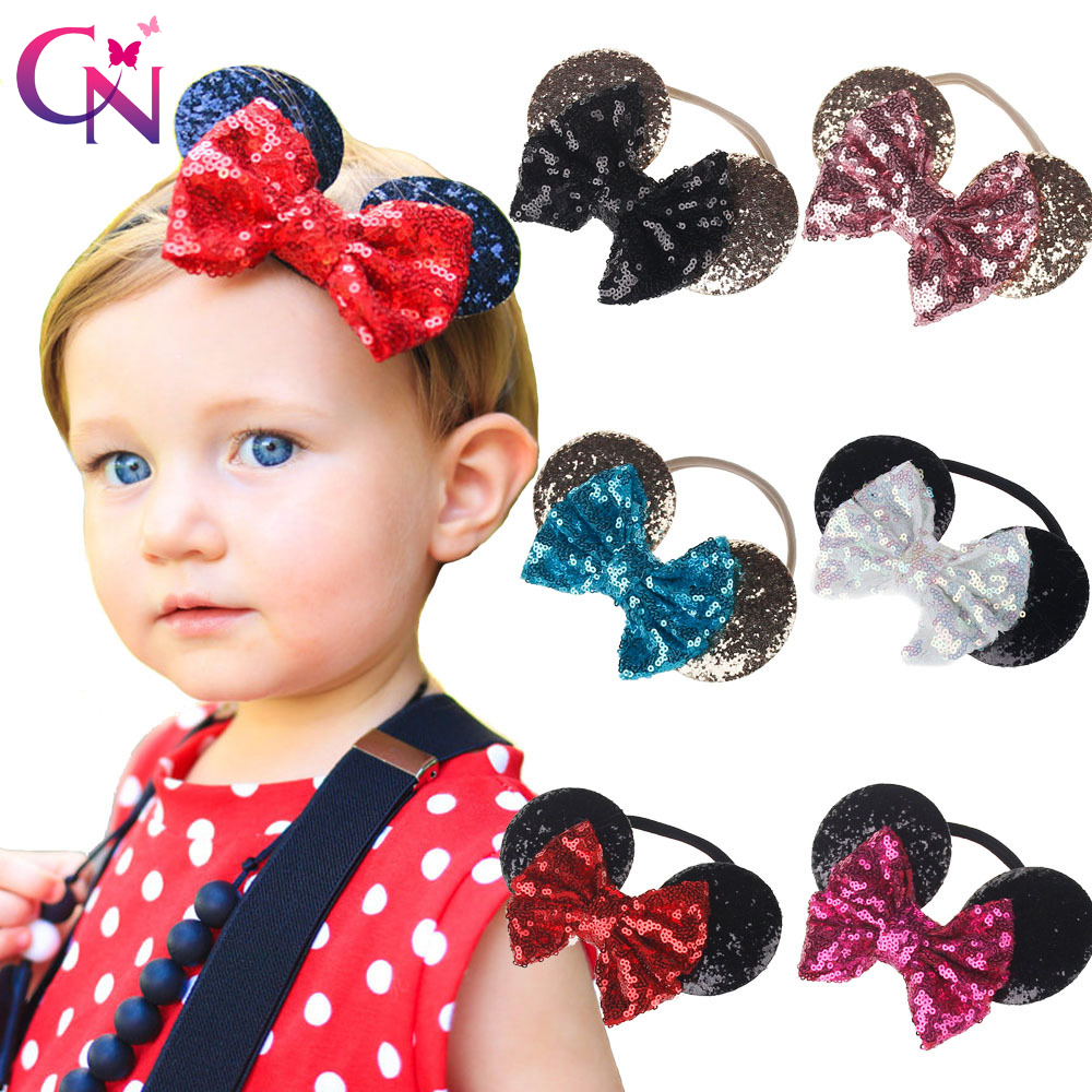 Cute Minnie Mouse Ears Nylon Headband With Sequin Bow For Kids Girls Boutique Bling Hair Bows Elastic Hairband Hair Accessories sequin bow minnie mouse ears headband for kids shiny glitter hair bow hairbands girls photography props hair accessories