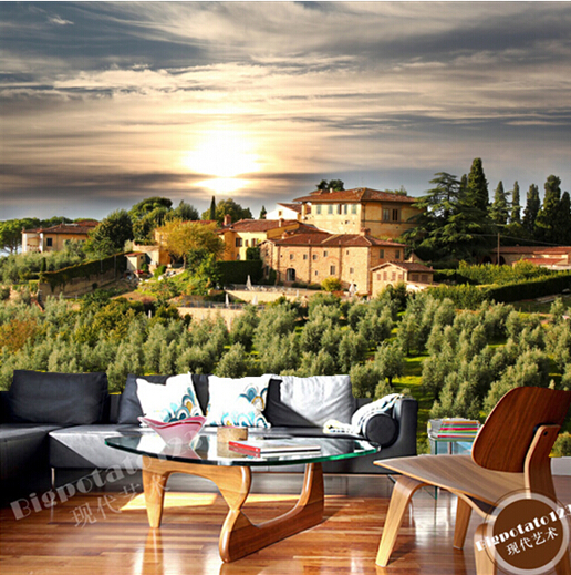 Custom photo wallpaper, Houses Gardens Sunrises and sunsets Sky Trees Tuscany Cities for the living room bedroom papel de parede custom 3d mountains sunrises and sunsets forest trees rays of light nature papel de parede living room tv wall bedroom wallpaper