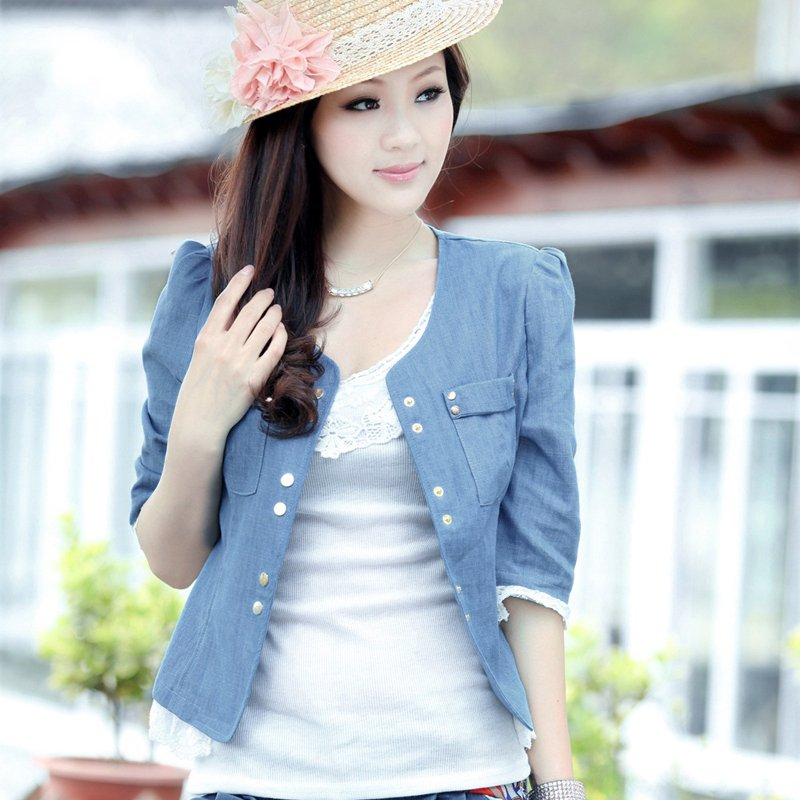 Women's Washed Blue Denim Jeans Jacket with Lace Fringe Half ...