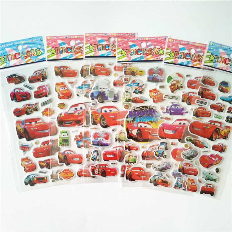 6-sheets-cartoon-happy-emoji-cars-stickers-classic-toys-3d-scrapbook-bubble-sticker-kids-school-reward-christmas-gift